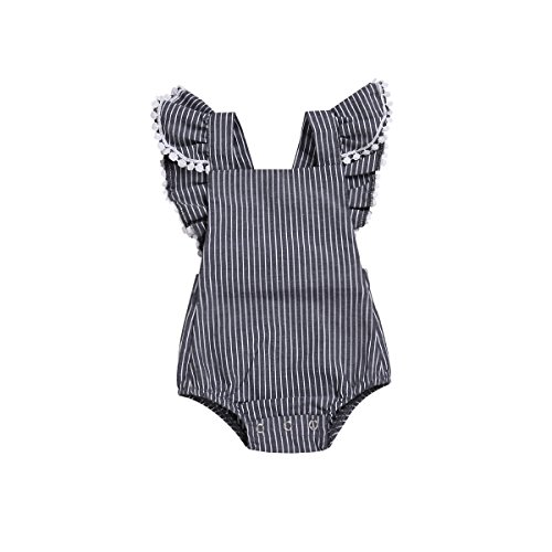 Viworld Baby Girl Romper Ruffles Bodysuit Lace Sleeveless Jumpsuit Grey Playsuit Outfit Clothes (Dot Lace Gray, 70(0-6 Months))