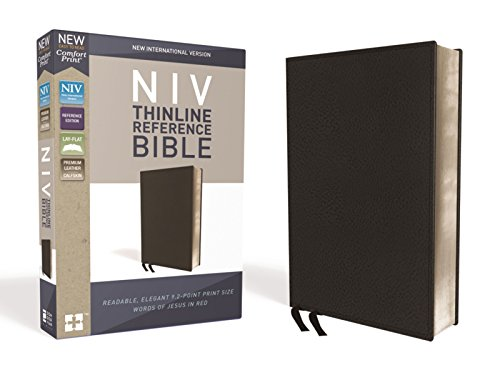 NIV, Thinline Reference Bible, Premium Leather, Calfskin, Black, Red Letter Edition, Comfort Print