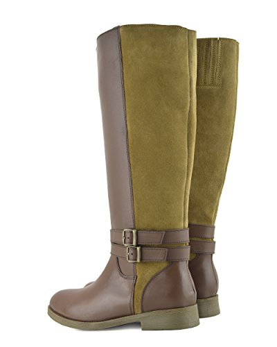 Flat Elastic Womens Riding Wide Leather Calf Kick Boots Tan Size Knee Large High Footwear Boots 0Tng7