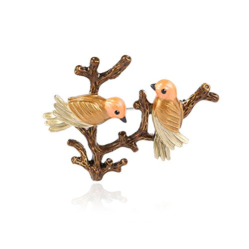 - Star and Sea Cute Two Birds Branch Friends Lover Pin Brooch (Brown)