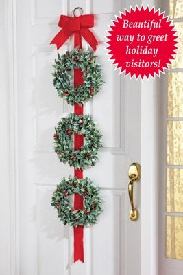 Triple Hanging Door Vertical Hanging Wreath Red Ribbon Bow Christmas