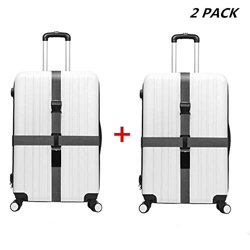 - JYHY Adjustable Luggage Strap Travel Suitcase Baggage Packing Belt Long Cross Straps,Gray 2 Pack