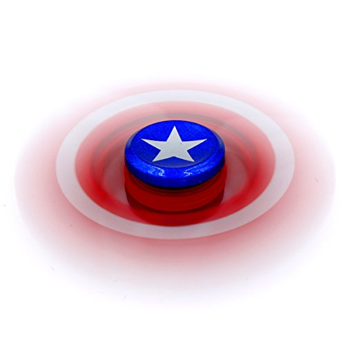 Marvel Heroes – Metal Fidget Spinner Toy Helps Focusing, Stress Reducer/Relief Perfect For Boredom EDC ADD Anxiety and Autism for Adult & Children, High Speed and Quiet Bearing (Captain America)