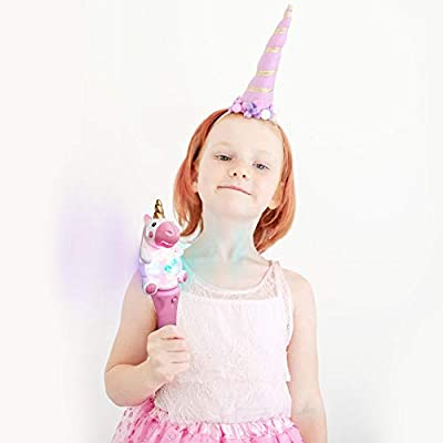 ArtCreativity 9.5 Inch Light Up Unicorn Spinning Wand - Cute Princess Wand with Spinning LEDs - Fun Pretend Play Prop - Batteries Included - Best Birthday Gift for Girls and Boys: Toys & Games