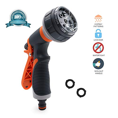 Hose Nozzle/Hand Sprayer – Free High Pressure Heavy Duty 8 Pattern Watering Nozzle for Car Wash, Cleaning, Watering Lawn and Garden – Ideal for Washing Dogs & Pets(Orange)