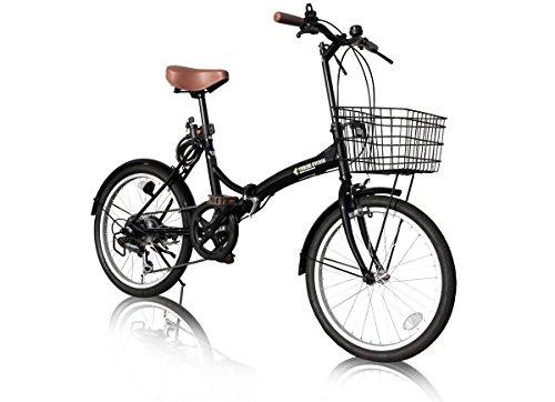 [해외] AIJYUCYCLE 접이식 자전거 20인치 P-008 바구니・프론트LED라이트・와이어 그린정 부착 시마노6 단변속 기어 접는 자전거소 경차 미니베로 PL보험 가입