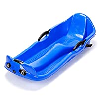 GXFLO Deluxe Plastic Sled Kids Heavy Duty Snow Sledge Toboggan Sleigh Sled Rope Plastic with Rope Handle Unisex Kids Adults Ski Fun Board