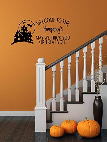 (BYRON HOYLE Custom Trick or Treat Vinyl Art Decal-Halloween Vinyl Decal, Trick or Treat Vinyl Wall Decal, Custom Name Halloween Decor,)