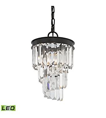 Pendants 1 Light LED With Oil Rubbed Bronze Finish Clear Crystal Candelabra 8 inch 5 Watts - World of Lamp