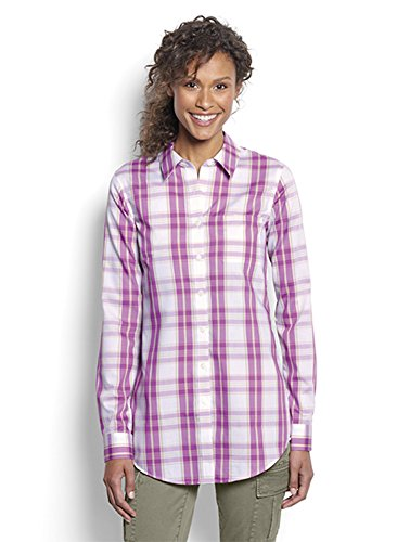 Orvis Women's Wrinkle-Free Patterned Cotton Twill Tunic, Rhubarb Plaid, 6