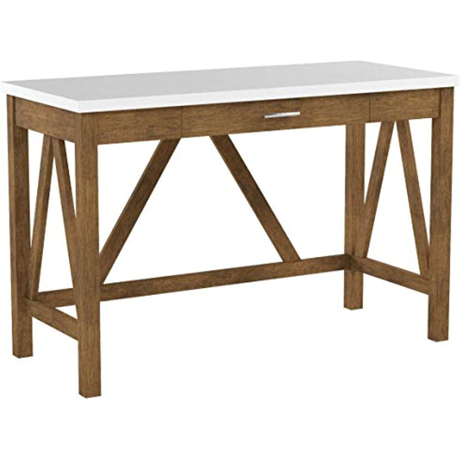 Walker Edison Furniture Rustic Farmhouse Wood Computer Writing Desk Office, 46 Inch - Walnut Brown, White Marble