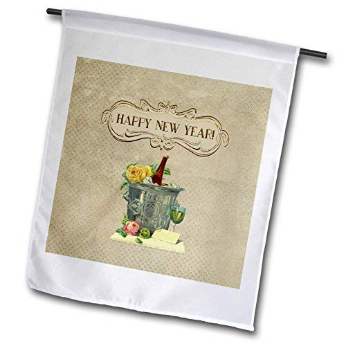 3dRose Beverly Turner New Year Design - Image of Ice Bucket, Champagne, Glass, Roses, and Card, Happy New Year - 18 x 27 inch Garden Flag - Bucket Roses Champagne