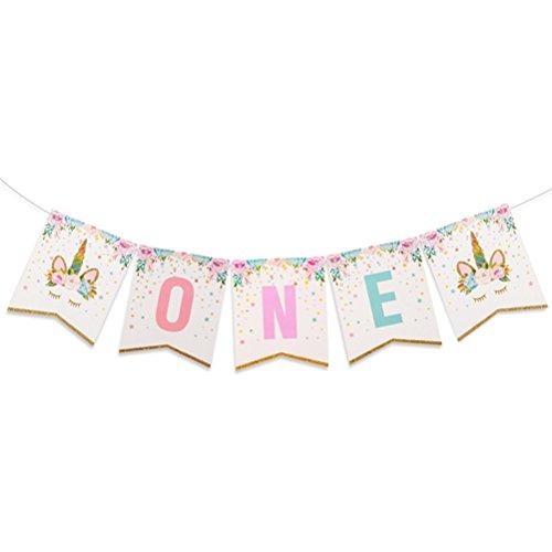SUSHAFEN 1 Piece ONE Letter Banner 1st Unicorn Birthday Banner Baby Shower Birthday Bunting Flags Garland Unicorn Theme Birthday Party Supplies ()