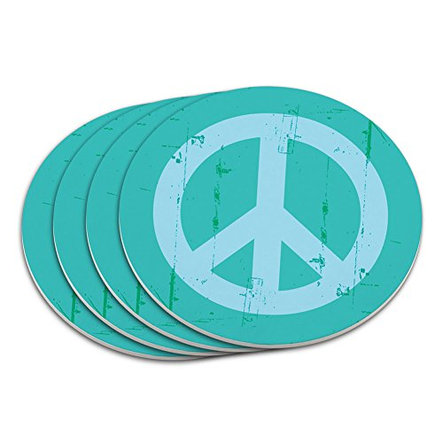- Artsy Peace Sign Symbol Teal Coaster Set
