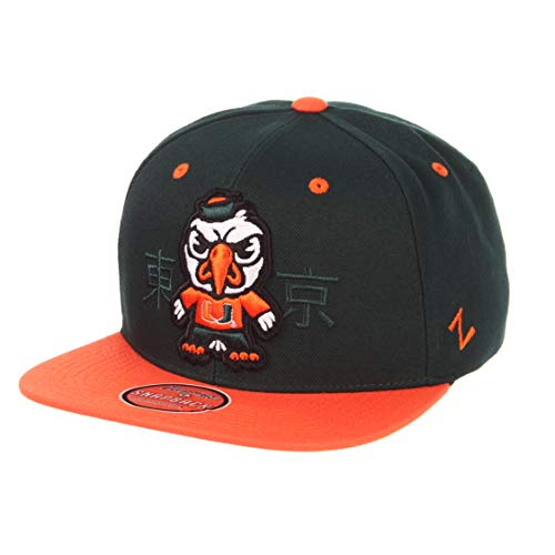 Zephyr NCAA Miami Hurricanes Men's Harajuku Snapback Hat Tokyodachi Collection, Forest Green, -