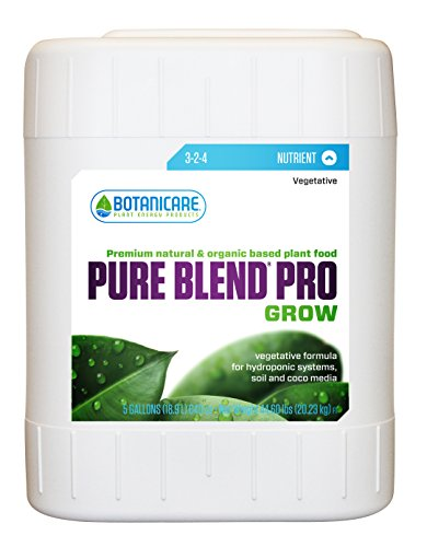 Botanicare PURE BLEND PRO Grow Soil Nutrient 3-2-4 Formula, 5-Gallon