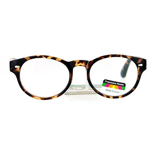 SA106 Oval Horn Rim Multi 3 Focus Progressive Reading Glasses Shiny Tort - Sunglasses Progressive