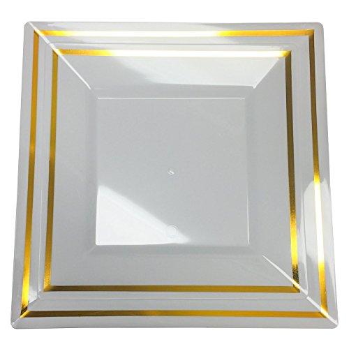 Plexware Golden Rim Square Plastic Plates 40 Piece Set (20-8.2 Inch, 20 - 9.5 Inch) White