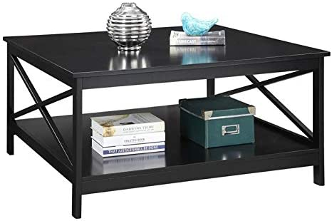 Amazon Com Pemberly Row 36 Square Coffee Table In Black Kitchen