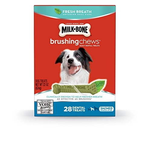 Milk-Bone Brushing Chews Fresh Breath Daily Dental Treats - Small/Medium, 22-Ounce, 28 Bones Bone Tooth
