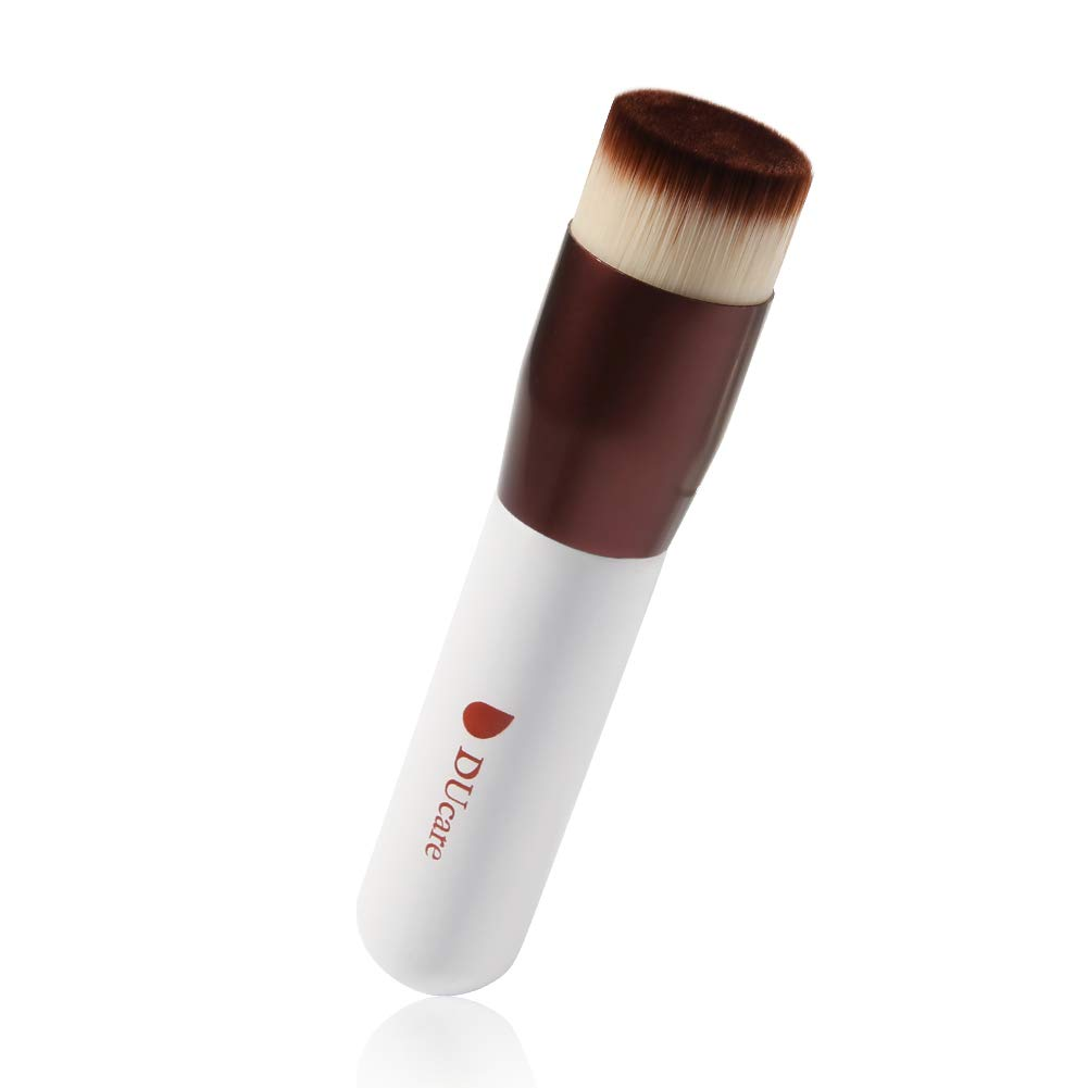 DUcare Kabuki Foundation Brush Makeup Brushes Synthetic Buffing Stippling Professional Liquid Blending Mineral Powder Makeup Tools (Rose Golden and White)