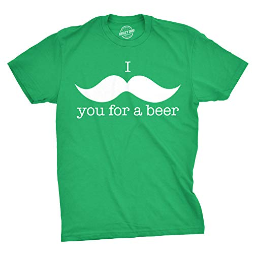 Crazy Dog T-Shirts I Mustache You for A Beer T Shirt Funny St Patricks Day Parade Drinking Tee (Green) M ()