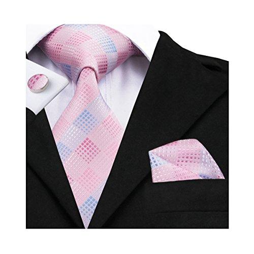 Hi-Tie Pink Tie Woven Silk Tie Pocket Square and Cufflinks Gift Box Set Mens Wedding Tie