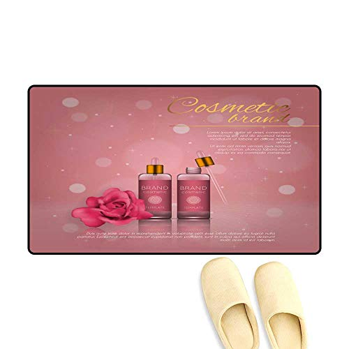 Multicolor Rectangle Area Rug Vector 3D Cosmetic Illustration with Rose and Bokeh Background Beauty Realistic Cosmetic Product Design Template Rug 32