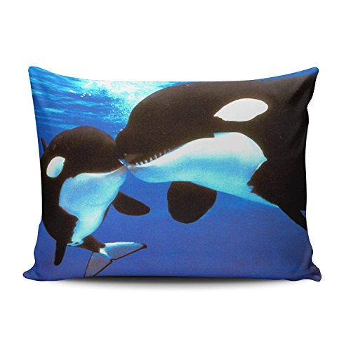 Hoooottle Custom Luxury Funny Lover Couples Black Killer Whale Orca Kiss Jaws Standard Pillowcase Rectangle Zippered One Side Printed 20x26 Inches Throw Pillow Case Cushion Cover -