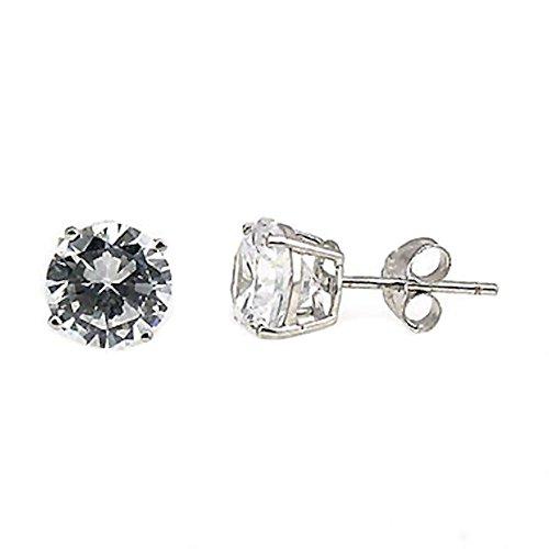 Jayden: Unisex 6mm, 1.5 ct Brilliant-cut Ice on Fire CZ Cast Basket Stud Earrings 925 Silver, 0576