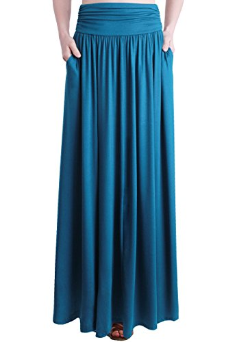 TRENDY UNITED Women's Rayon Spandex High Waist Shirring Maxi Skirt With Pockets (TEL, Small)