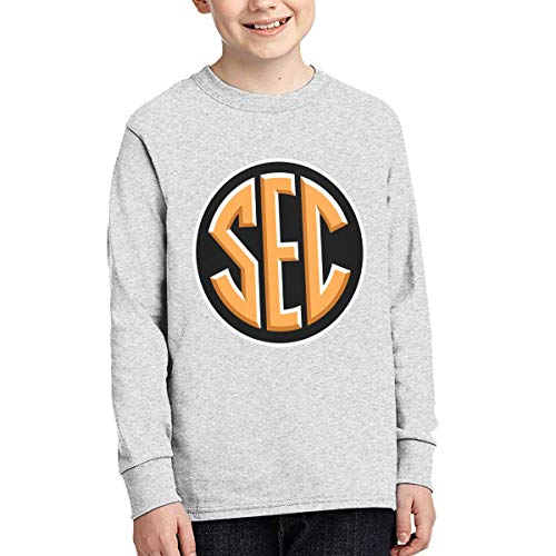 (HYUQPP4 Southeastern Conference SEC 100% Cotton Junior Cool Long Sleeve T-Shirt Without Pockets Gray)