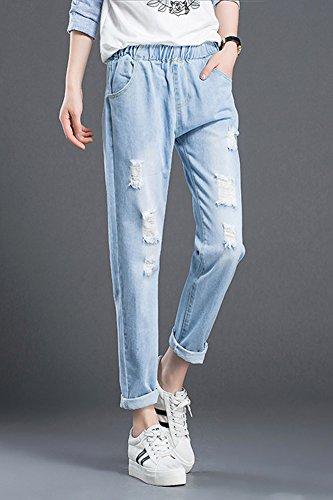 Comodi Elastico In Casuale Chiaro Donna Jeans Da Distrutti Vita Azzurro Pantaloni Laozan Con 4RYq8wt