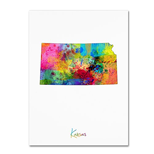picture of Trademark Fine Art Kansas Map by Michael Tompsett, 24x32-Inch