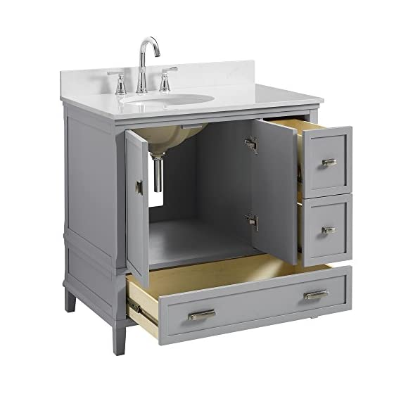 """Dorel Living Otum 36"""" Bathroom Vanity, Gray - Traditional designed 36"""" bathroom Vanity Perfect for your master bathroom, guest bathroom or powder room Crafted with solid wood, engineered wood and fine wood veneer - bathroom-vanities, bathroom-fixtures-hardware, bathroom - 41IJ3FZrOgL. SS570  -"""