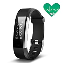 JoyGeek Fitness Tracker, Smart Bracelet, Heart Rate Monitor, Smart Watch with Music/Camera Control Sleep Monitor Pedometer Calorie Counter GPS Sports and Call/SMS Reminder for iPhone X/8/8plus/7/7 plus Samsung S9/note 8/S8 Huawei Mate 9/P9/P10 (Black)