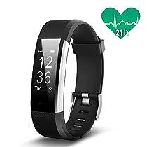 JoyGeek Cardiofrequenzimetro, bracciale intelligente, tracciatore di attività sportiva, orologio intelligente con controlli per musica e fotocamera, monitoraggio del sonno, podometro, conta calorie, gps, notifiche per chiamate e sms, per iPhone 6/6 Plus/7/7 Plus, Samsung S7/Note/S8