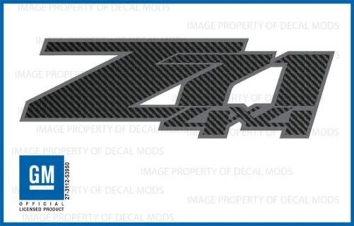 - Chevy Silverado Z71 4x4 decals stickers Carbon Fiber Black Pattern - FCFB (2007-2013) bed side 1500 2500 HD (set of 2)