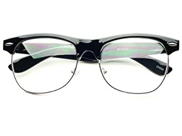 retro style clubmaster half frame clear lens wayfarer glasses frames black