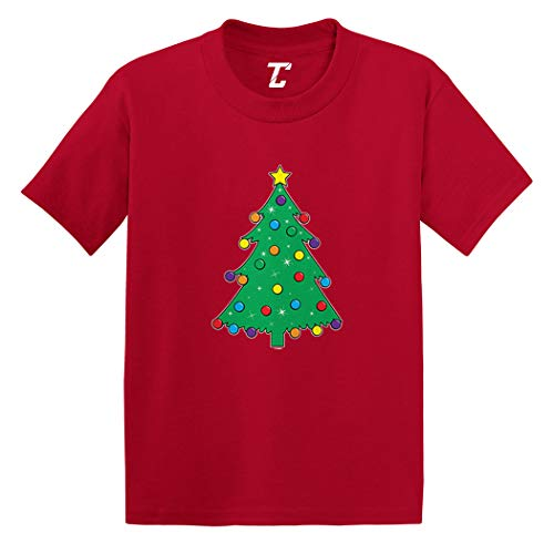 (Christmas Tree with Ornaments - Santa Infant/Toddler Cotton Jersey T-Shirt (Red, 5T))