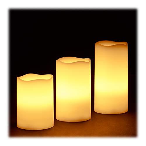 Relaxdays LED kaarsen echte was set van 3 elektrische kaarsen flikkerend licht, werkt op batterijen, Ø 7 cm, 3 maten…