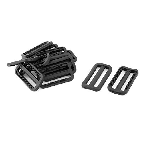 EbuyChX Plastic Outdoor Adjustable Backpack Strap Tri Glide Buckle 2.4 Inches Length 12pcs Black
