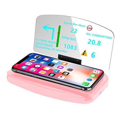 DECVO Head Up Display,Vehicle Car Dash HUD Phone GPS Navigation Support Image Reflector 3 in 1 (Fast Wireless Charger), Cellphone Holder Mount Reflective Film for Samsung Galaxy,iPhone ETC (Pink) (Car Seat Latitude Adaptor)