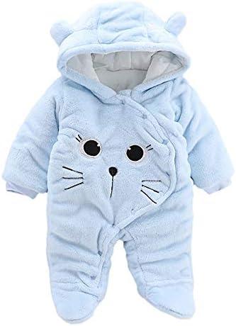 VEKDONE Newborn Baby Girl Boy Solid Cartoon Bear Velvet Hooded Jumpsuit Romper Clothes
