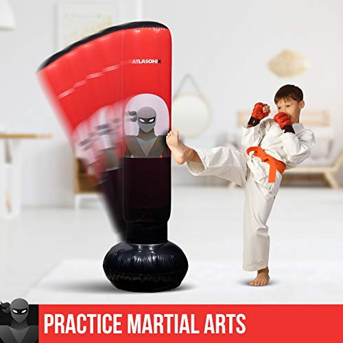 Inflatable Kids Punching Bag – Free Standing Ninja Boxing Bag for Immediate Bounce-Back for Practicing Karate, Taekwondo, MMA and to Relieve Pent Up Energy in Kids and Adults/Tall 5' 3""