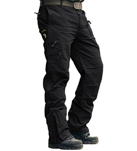CRYSULLY Men's Fall Relaxed fit Cotton Leisure Army Cargo Combat Work Trousers Fashion Straight fit Work Pants,Black,34