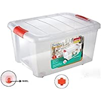Aristo Plastic Storage Box with Wheel, 25 L, Multicolour