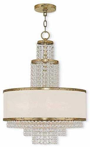 (Livex Lighting 50785-28 Prescott - Five Light Chandelier, Hand Applied Winter Gold Finish with Off-White Sheer Organza Shade with Clear Crystal)