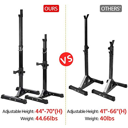 Yaheetech Pair of Adjustable Squat Rack Standard Solid Steel Squat Stands Barbell Free Press Bench Home Gym Portable Dumbbell Racks Stands 44''-70'' by Yaheetech (Image #5)