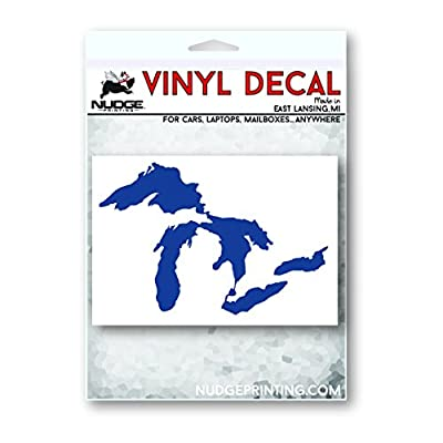 Great Lakes of Michigan Premium Weatherproof Vinyl Car Decal Bumper Sticker (Blue, Standard): Arts, Crafts & Sewing